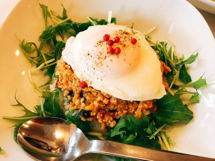 ランチメニューは、「オカラのヘルシータコライス」や「4種の豆カレー」など、お野菜がメインの体に優しいお料理がを楽しめます。