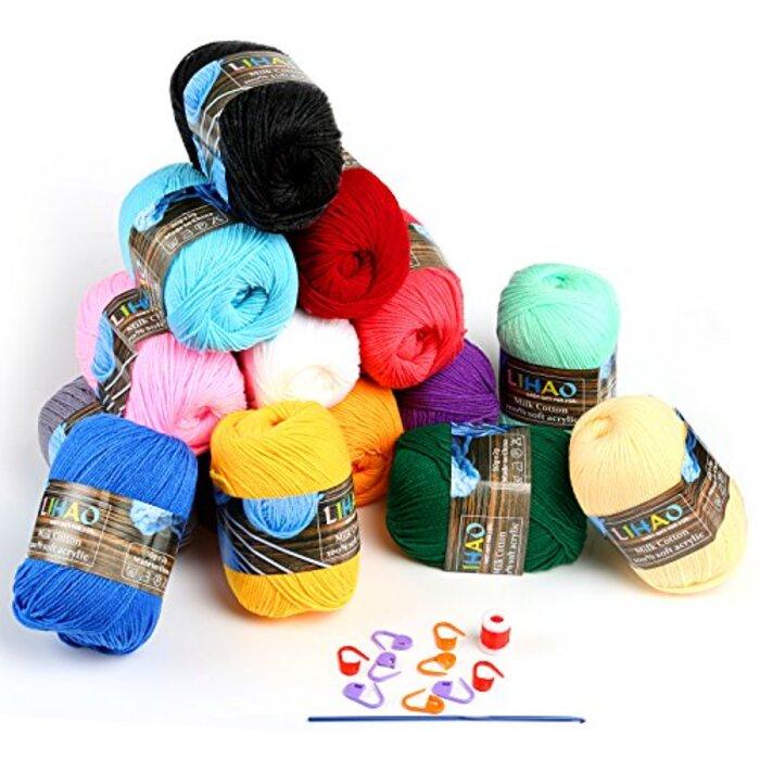 LIHAO 毛糸 50g±2g玉巻(約160m) 全15色 アクリル 棒針キャップ かぎ針 段数マーカー付き