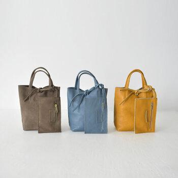 キュッと絞った入り口が素敵なミニバッグ。小分けポーチ付きで、使い勝手抜群のアイテムです。