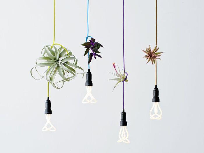個性的な型でインパクトのあるPLUMEN(プルーメン)。  2本の蛍光管が絡み合っているようなユニークな造形が特徴です。 電球の8倍も長持ちすることから、省エネ対策にもおすすめ。  カラフルな照明コードは同シリーズのLINE ME(ラインミー)という商品です。