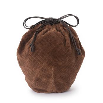 パイルジャガードの生地が柔らかく、これからの季節にぴったりの巾着です。コロンとした形や細い紐がおしゃれ。