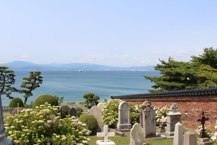函館湾を一望できる外国人墓地は観光名所のひとつ。西陽から夕陽へと移りゆく午後のひとときにいかがですか?