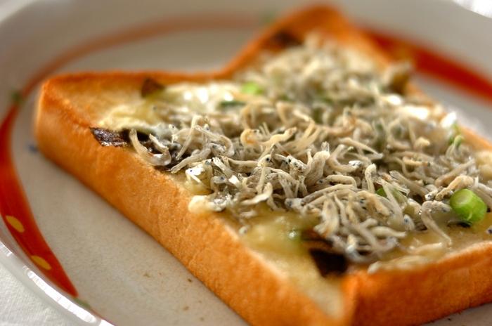 こちらは、余りがちなちりめんじゃこを使った和風トーストのレシピ。栄養満点でおいしいちりめんじゃこは、朝食にぴったりです。トーストしたパンに、ちりめんじゃこや海苔、チーズなどの食材をのせ焼き上げます。バターと海苔のいい香り♪相性抜群な、はずさないレシピです。