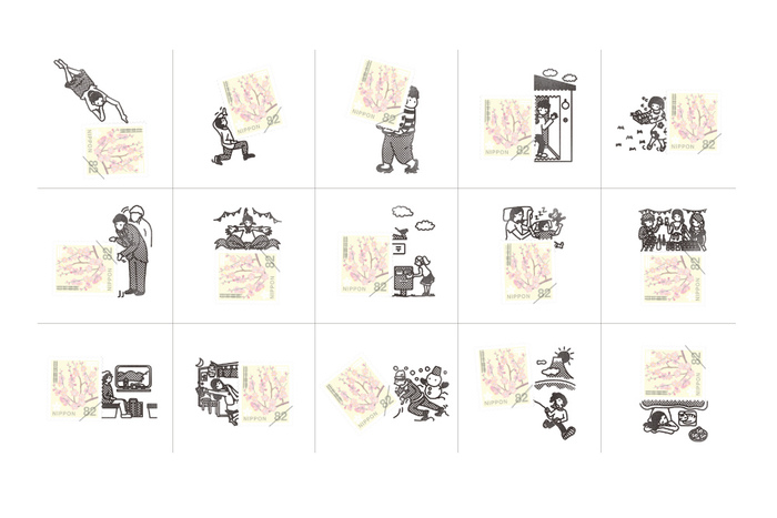 一押しは、「切手のこびと」が販売しているスタンプ。ユーモアあふれるデザインのスタンプが豊富にラインナップしています。こちらのように、どんな切手も素敵な作品に早変わり!