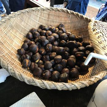 カジュアルな手土産なら「焼き栗」がおすすめです。1ヶ月以上低温貯蔵して甘さを引き出した栗を、超高温の圧力釜で焼き上げているそう。ホクホクした食感と香ばしさについつい手がのびるおいしさです。