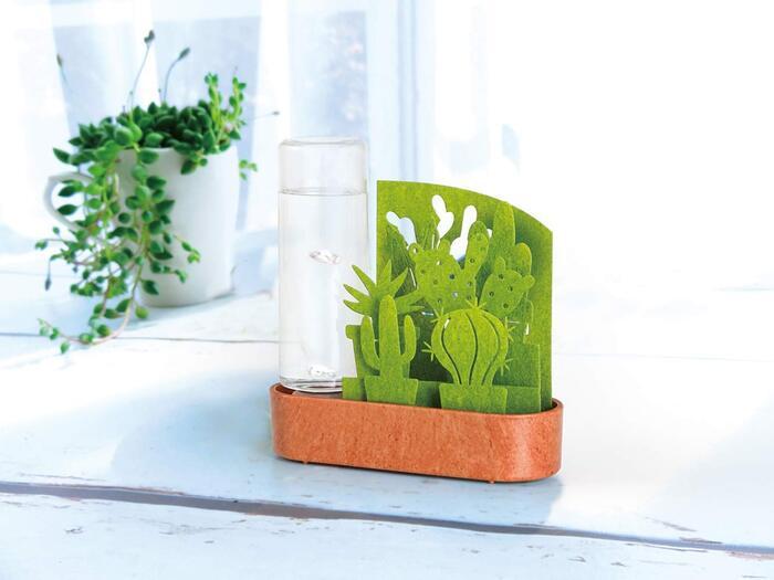 積水樹脂 置物 グリーン 幅15cm 自然気化式加湿器 小さな庭 サボテン寄せ植え