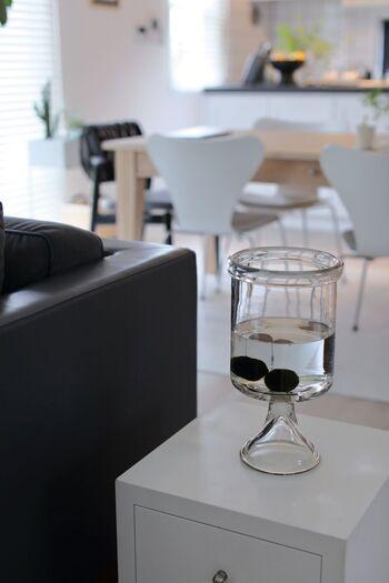モノトーンのインテリアとガラスの雑貨は相性バツグン。お部屋の印象に清涼感をプラスしてくれます。