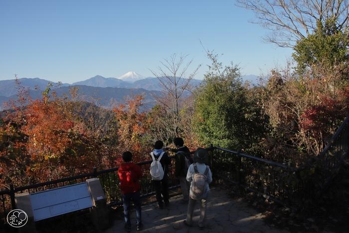 山頂からは紅葉と山々の共演が見られます。晴れて空気が澄んだ日には、富士山も見えますよ!思いっきり深呼吸したくなるような、雄大な景色です。