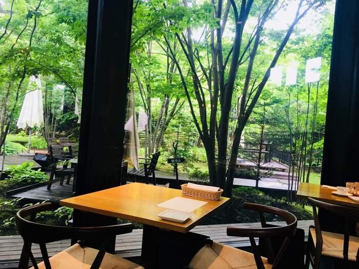 軽井沢の自然が感じられるお庭を眺めながら、ゆったりお食事ができます。テラス席やサンルームも心地よく、ペット連れでも入店できるのがうれしいですね。