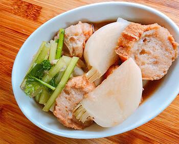 油麩には空洞がたくさん。  そのため、煮込み系料理やおひたし、スープに使うと旨味をたくさん吸ってくれますよ。 煮るだけでなく、炒めても揚げても美味しくいただけます♪