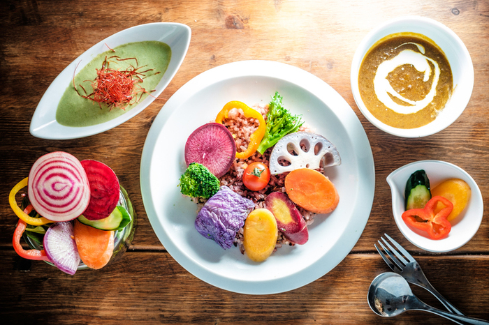 目にも鮮やかなカレーセット。こちらの「ベジカレー」は、お野菜それぞれの甘みや食感が楽しめるヘルシーなひと皿。動物性食材を一切使用していないので、健康志向や女性の方に人気です。