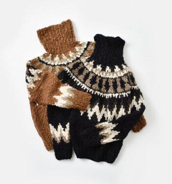 どこか懐かしいようなほっこりとしたノルディックニットセーター。寒い雪の日が似合いそうなニットは、気軽で上質な一着を提案する「unfil」の新作です。