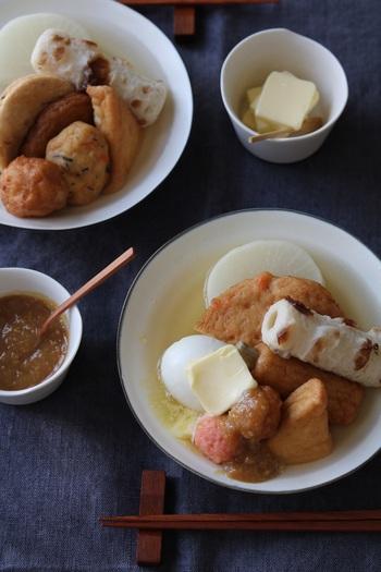 基本のおでんに味噌だれをかけ、バターをトッピング。まろやかさとコクがプラスされ、箸が止まらなくなるおいしさに。