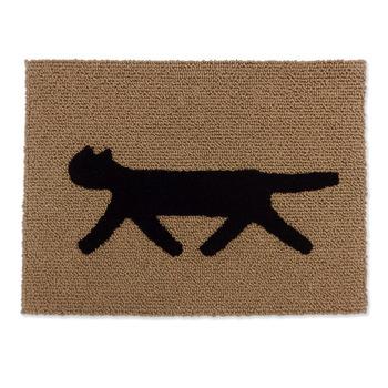 麻のループ織りに、ウールで織られているネコが立体的に浮かびあがるマット。縦50cm×横68cmの小さめサイズで、玄関マットや室内用マットにおすすめです。 伸びやかに歩く猫モチーフが、お部屋をリラックスした雰囲気にしてくれます。