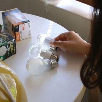 最もポピュラーともいえる白熱電球は、消費電力や寿命は他の電球に劣りますが、リーズナブルで、全方向に温かみのある暖色の光が広がる特徴があります。   電球型蛍光灯の消費電力は、白熱電球より低く、スイッチを入れるとじんわり明るくなっていきます。  寿命はLEDより短く、頻繁にスイッチを入り切りする場所には向いていません。