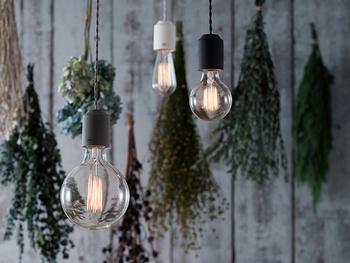 電球はポピュラーなハウス電球、エジソンランプと同じようなムードあるカーボン電球、レトロなガラス球のアンティーク電球から選べます。