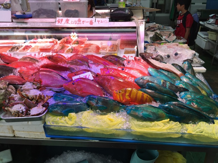 沖縄といえば、本州では見られないお魚などの特徴ある食材が名物ですよね。第一牧志公設市場にも、たくさんの珍しい食材が集まっています。真っ赤な魚に真っ青な魚、名前も珍しくてとても楽しいです。
