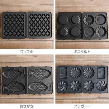 プレートはワッフル・ミニタルト・おさかな・プチガトーの4種類。どれも可愛いデザインなので、全部揃えたくなってしまいます。