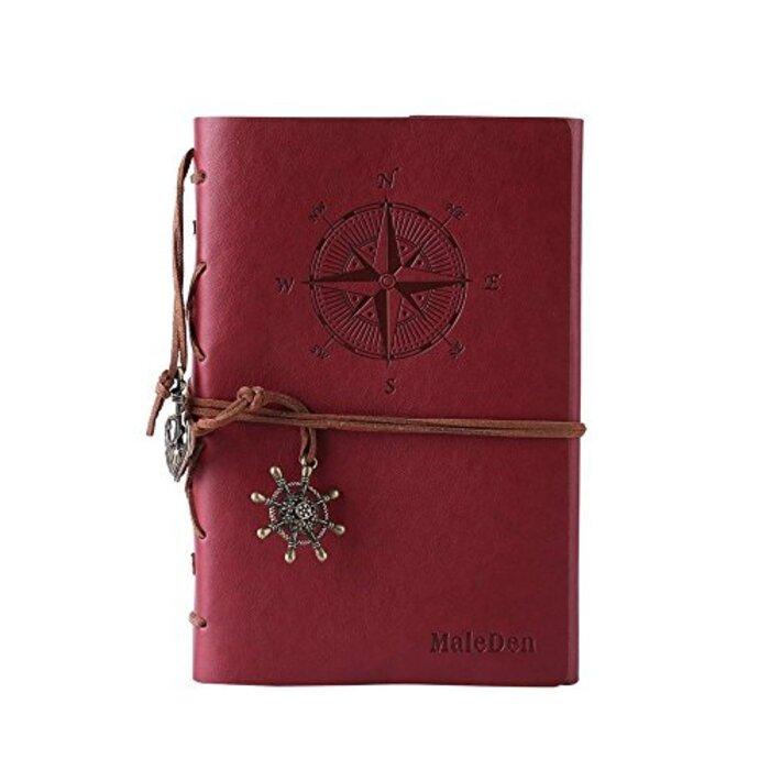 Maleden ツイストリングノート おしゃれ かわいい アンティーク ノート A6 手作り手帳 クラシック 北欧風 レザーカバー 航海日記 6穴 ルーズリーフ レッド