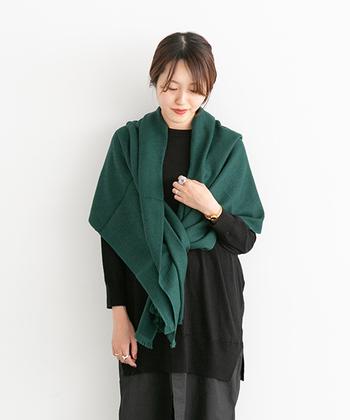 今シーズンのトレンドカラーとして注目されている「グリーン」。上質なウールとシルク素材を使用したこちらのストールは、深みのある落ち着いたグリーンが印象的です。ダークトーンの洋服に綺麗に映えて、秋冬の装いを華やかな雰囲気に仕上げてくれます。
