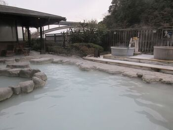 「明礬温泉」といえば、先に述べた泥湯や湯の花が有名ですが、穴場としてご紹介したいのが、湯屋えびす。  朝10時〜23時まで営業を行う日帰り湯施設で、明礬温泉の老舗温泉旅館「御宿ゑびす屋」が運営しています。  お目当は、白濁色の温泉を楽しめる、大浴場や露天風呂。やや硫黄の香りが強いですが、肌がしっとりとする、美肌の湯として有名です。また、岩盤浴も備わっているので、じっくりデトックスを楽しむのも良し*