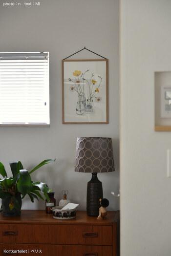 春には黄色のお花モチーフに替えると、壁の印象が一気に明るく! インテリアが華やぎ、気持ちもグンと上がりそうです。