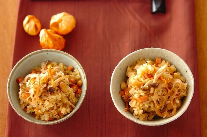 干したお野菜は中華風のおこわにもよく合います。ドライベジはあえて干したままの状態で入れると、食感も良く、見た目も豪華で賑やかなひと品になります。