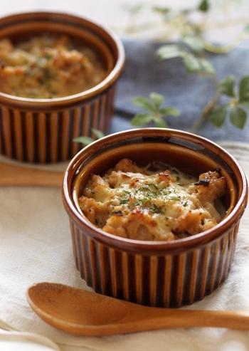 セミドライにしたかぶとエリンギに高野豆腐を合わせたアイデアグラタンです。味噌と生クリームで優しい味わいのグラタンになりました。