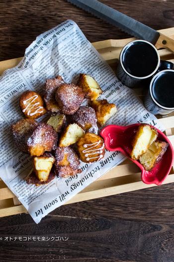 ホットケーキミックスにおからを混ぜて、ラフに揚げたおからのドーナツ。おうちで作ると、揚げたてアツアツのところをいただくことができるのが嬉しいですね。分量も切り良くできているので、覚えやすいんですよ。