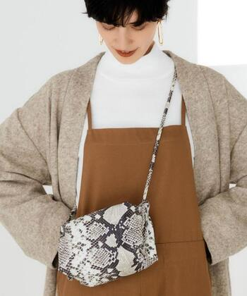 シンプルなブラウンコーデには、少しインパクトのあるファッション小物たちで華を添えてみませんか。ブラウンカラーの優しさと温かみで、トレンド感の強いアイテムも悪目立ちしません。  今期注目のパイソン柄も、ブラウンコーデにぴったりです。画像はイタリアの「A.la Malva(ア・ラ・マルヴァ)」のレザーポシェット。上品にまとまったブラウンコーデにモードな一味を足してくれますね。