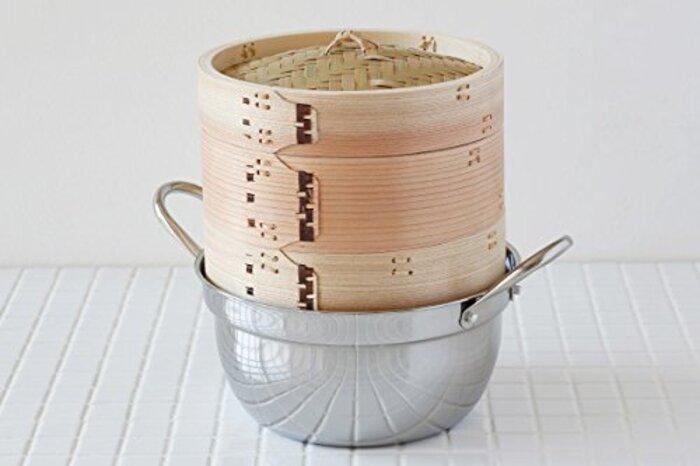 【かごや】杉 中華蒸篭(セイロ・蒸し器)18cmステンレス鍋付セット[クッキングシート10枚付](14)「せいろで蒸す」レシピ2品付