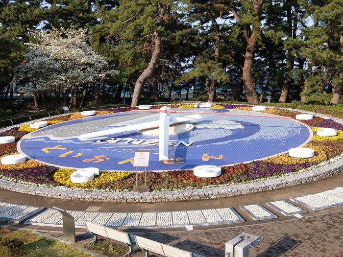 """周辺には大きな観光施設は少なく、お寺や公園、展望台などを巡りながら落ち着いて過ごすことができます。散策するなら、夕日の名所「松原公園」にある「世界一の花時計」がおすすめ。外周には天然石でできたパネルが敷き詰められていて、""""素足で歩く健康スポット""""にもなっています。"""