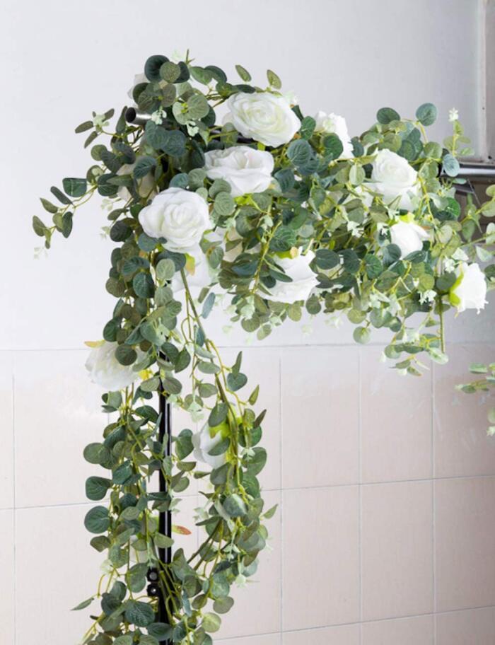 Gadgetman ユーカリ ガーランド 人工観葉植物  バラ アーティフィシャルフラワー