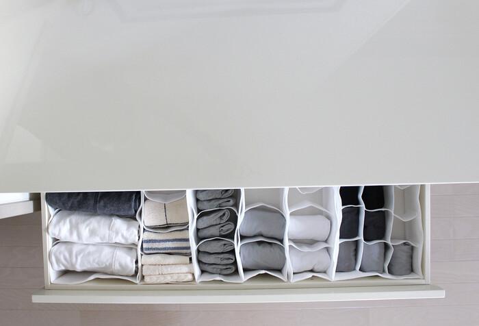 布製なので引き出しに合わせやすいところも良いですね。 バリエーション・サイズ展開ともにたくさんあるので、ぴったりな仕切りケースが見つかりそう。