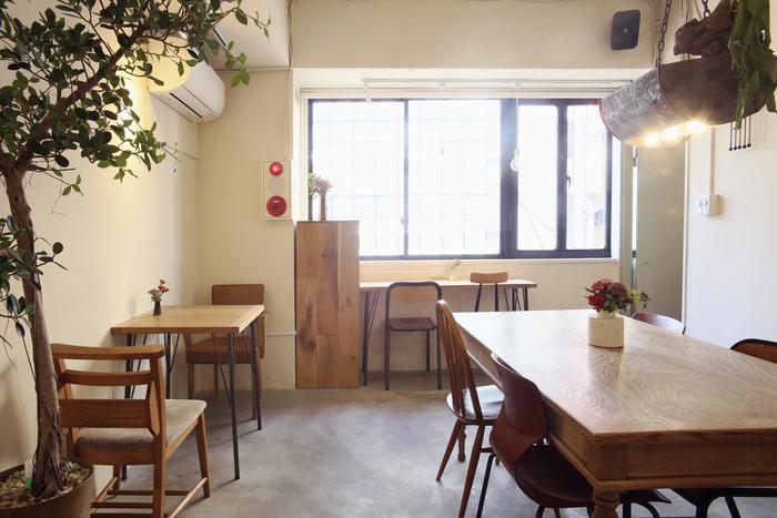 あまり広くない空間ですが、ゆったりとお席が配されています。シンプルな内装に、お洒落なインテリアが美しいアクセントになっていますね。