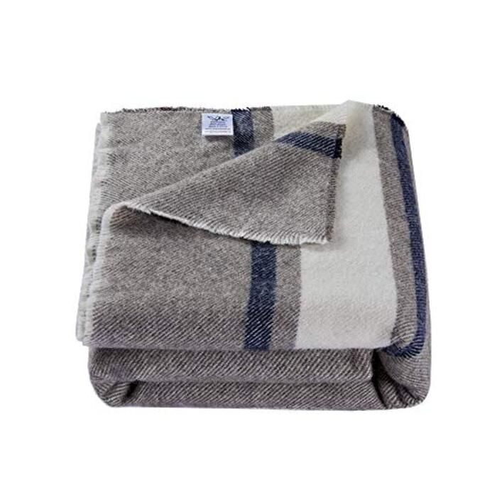 Winthomeウールブランケット ウールひざ掛け毛布 敷毛布 軽量 防寒 洗える シングルサイズ130*170cm (ブルー)