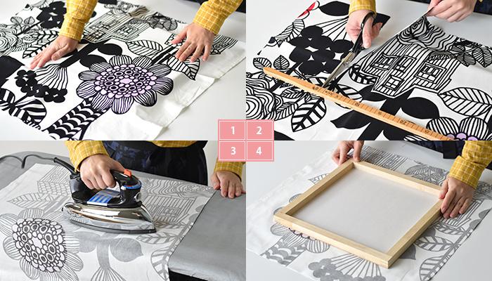 上手に作るコツは、まずテキスタイルのどの部分を使うと飾った時に映えるかよく考えて決めること。そして、たるみのないようピンと張った状態でタッカー留めをしていくことです。