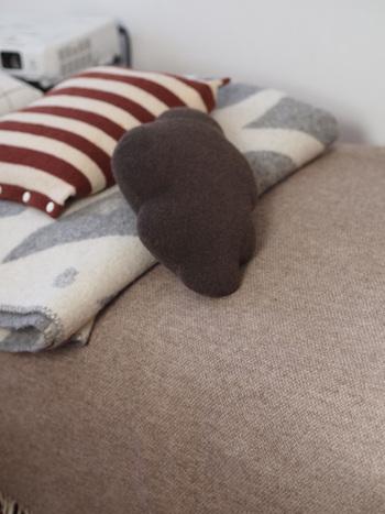 ラグはあたたかいけれど、掃除が大変!というときには、敷かない方法も考えてみましょう。こちらのブロガーさんは、床にラグを敷かずに、ソファーのあったかアイテムを充実させています。ソファーにウールのブランケットを敷いて、ルームシューズをスタンバイ。ひざかけなども用意しておけば、くつろぎタイムの防寒はばっちり。エアコンの下にソファーを置くなど、ポジションも工夫してみましょう。  ラグがなければ、普段の掃除が楽になるのはもちろん、ラグの洗濯の手間も省けます♪