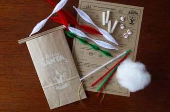 手作りキット商品も人気の、「手芸・工作用モールで作るサンタクロース」。  こちらのようにクリスマスカラーの手芸用モールと、仮面タイプのお顔、綿でおひげなどを用意したら、だいたい準備OK。
