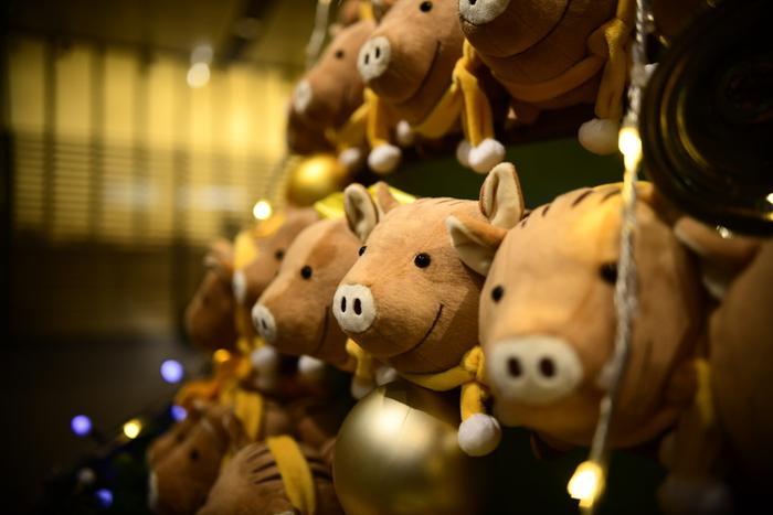 """こちらは前回の""""亥""""ツリー。他のクリスマスイベントとはまた違った写真が撮れそうです。たくさん並んでいる姿がなんとも愛らしく、可愛いもの好きな方におすすめです!"""