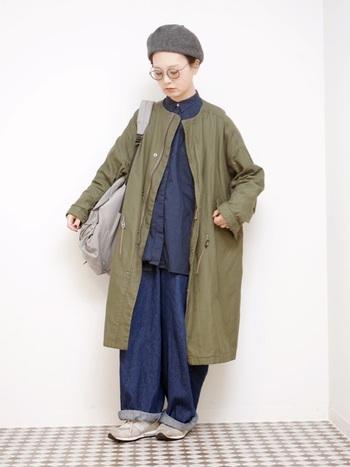 デニムやモッズコートなどのボーイッシュな洋服にもウールのベレー帽がマッチ。一気に冬らしい雰囲気を醸し出すことができますね。