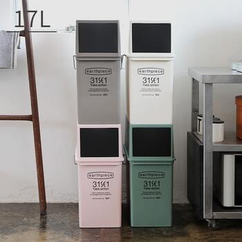 分別が増えて、いくつか欲しいゴミ箱。ゴミ箱は出来るだけ隠したい気持ちになりますが、何個かこんな風に並べることで一見棚の様な雰囲気に。