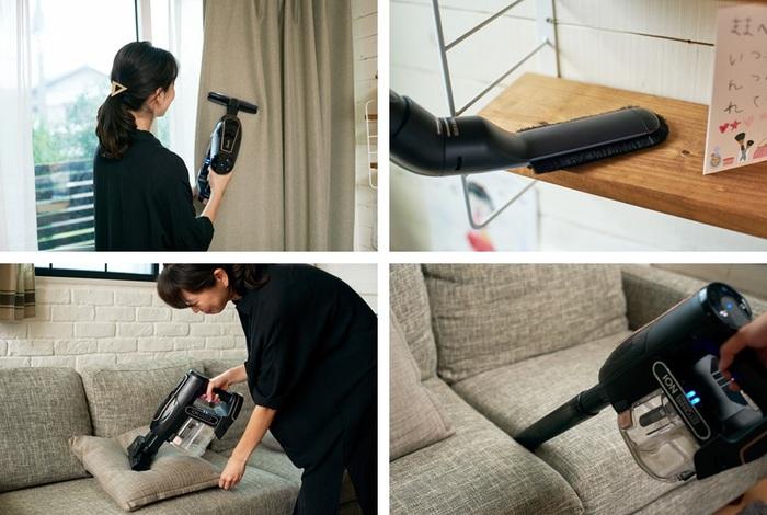 『EVOFLEX』はアクセサリーが豊富なので、部屋のあらゆる場所を掃除するのが楽しくなるかも。例えば「布団ツール」は布団だけでなくなかなか洗えないカーテンにも便利。これからの時季花粉が気になる窓辺の棚には「抗アレルゲン埃取り用ブラシ」がおすすめです。ミキさんのおうちのようにペットを飼っている場合は、強力なモーターが付いた「ミニモーターヘッド」で深く入り込んだ毛や汚れを取るのがいいかも。「掃除の質が上がった気がする。」と満足いく掃除ができているようです。