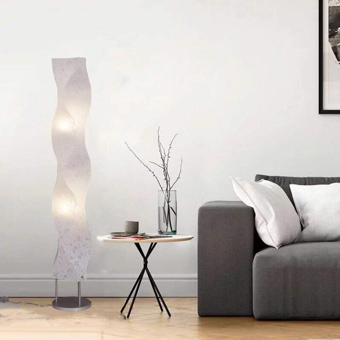 KUSHIMAX 『Crystall』 フロアランプ 和モダン(フラワー柄+LED)