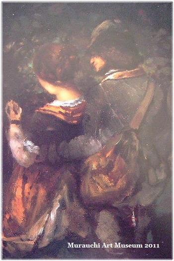 こちらの絵は19世紀に活躍したフランス人画家とギュスターヴ・クールベの「田園の恋人たち」。他にも写実的な風景画で知られるバルビゾン派のフランス美術など、落ち着いた雰囲気のなかでゆっくりレトロな気分にひたることができます。