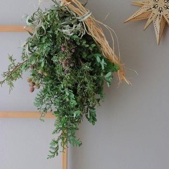 """ドイツ語で'壁飾り'を意味する""""スワッグ""""は、海外でクリスマスの飾りとして人気があります。"""