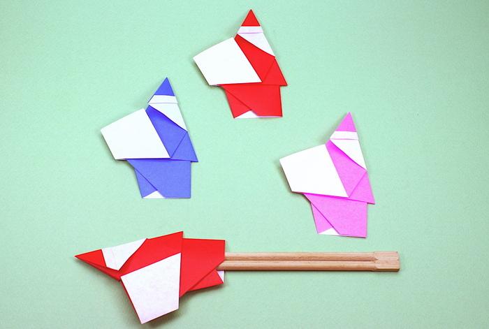 一枚の折り紙から作るサンタクロースの箸袋。クリスマスパーティーの食卓をより楽しく明るくしてくれる素敵なアイテムです。折り紙で簡単に作れるのでコスパも◎。参加者から折り方を教えてとリクエストされそう。