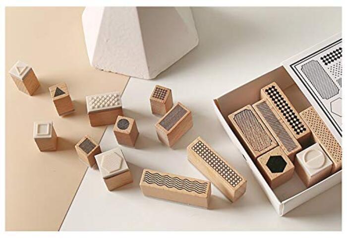 MissOrange『木製ゴム印セット』ジオメトリ 形状 クリエイティブスタンプセット  27個セットM-11