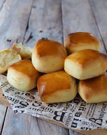 ころんとした形が可愛いミルクパン。焼き色が美味しそうですね♪練乳の程よい甘さとふんわり感が魅力です。子供も食べやすい味だと思いますよ。