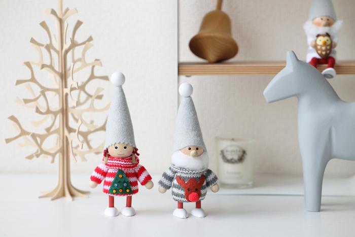 デンマークでは家庭に幸せを運んでくれるとも言われている妖精「ニッセ」。可愛らしく佇む姿は、クリスマスらしさを感じられるだけでなく、温かな気持ちになれそうですね。性別も年齢もさまざまのニッセ。たくさん飾りたくなりますね。